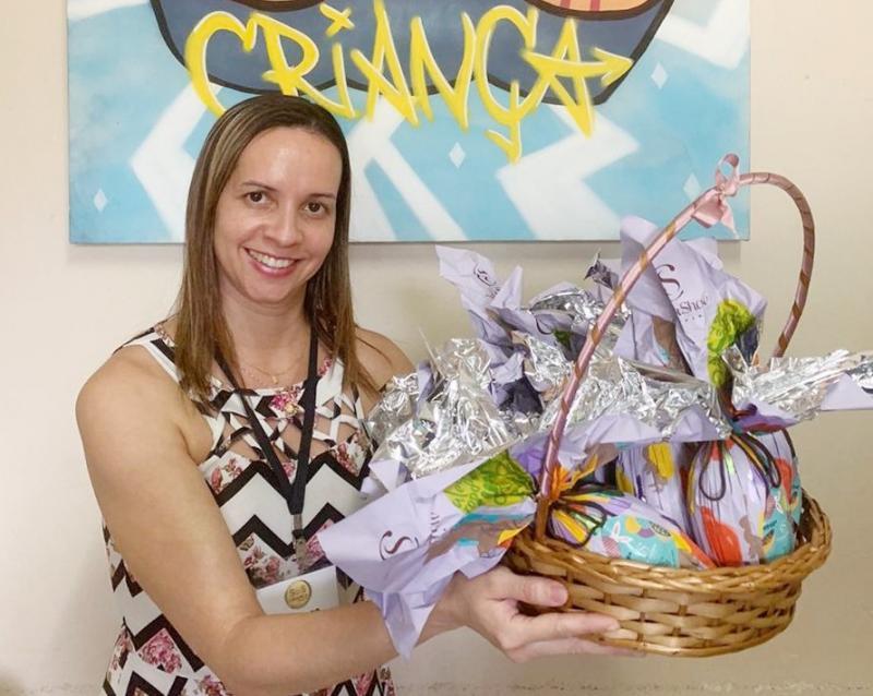 Cedida - Vanessa, da SOS, agradece imensamente pela doação dos ovos de Páscoa