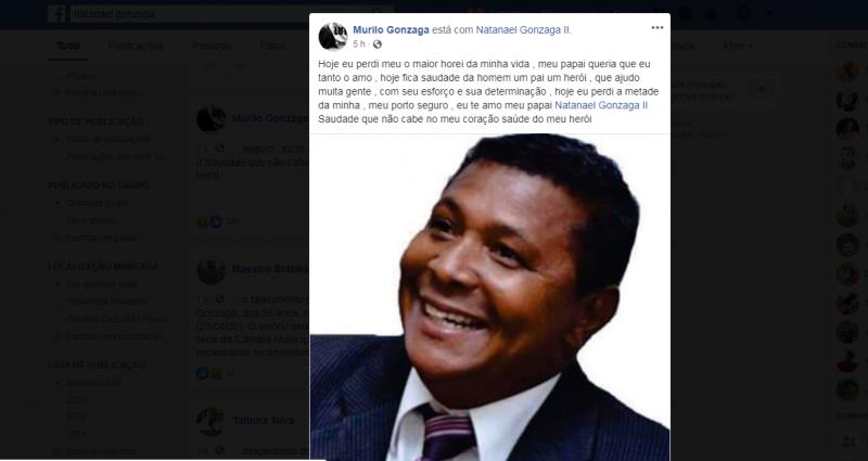 Reprodução/Facebook - Natanael estava em seu terceiro mandato na casa de leis