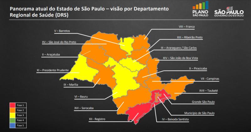 Governo de SP - Presidente Prudente se encaixa na faixa amarela da análise