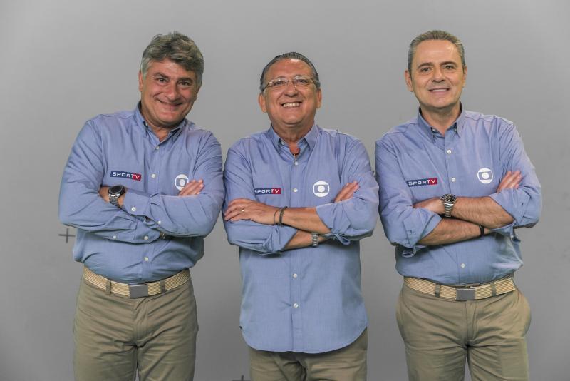 João Miguel Júnior/TV Globo - Cléber Machado, Galvão Bueno e Luís Roberto, do esporte da Globo