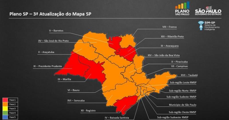 Reprodução/Governo do Estado de São Paulo - DRS-9, de Marília, estava na faixa laranja e recuou para a vermelha