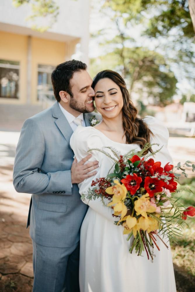 Foto– Cedidas/Marcelo Rosal - Suelen e Rafael, o primeiro casal a realizar o matrimônio intimista