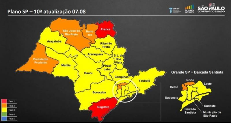 Divulgação - Situação dos DRSs permanecem conforme atualização do dia 7 de agosto