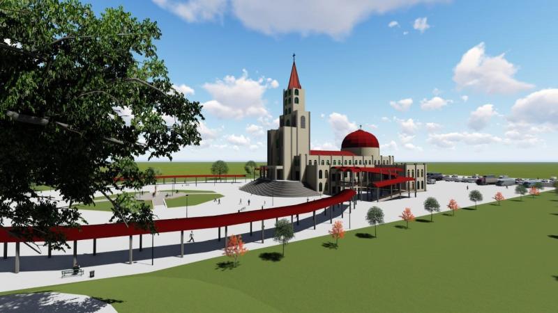 Reprodução - Santuário com a cúpula e coruchéu