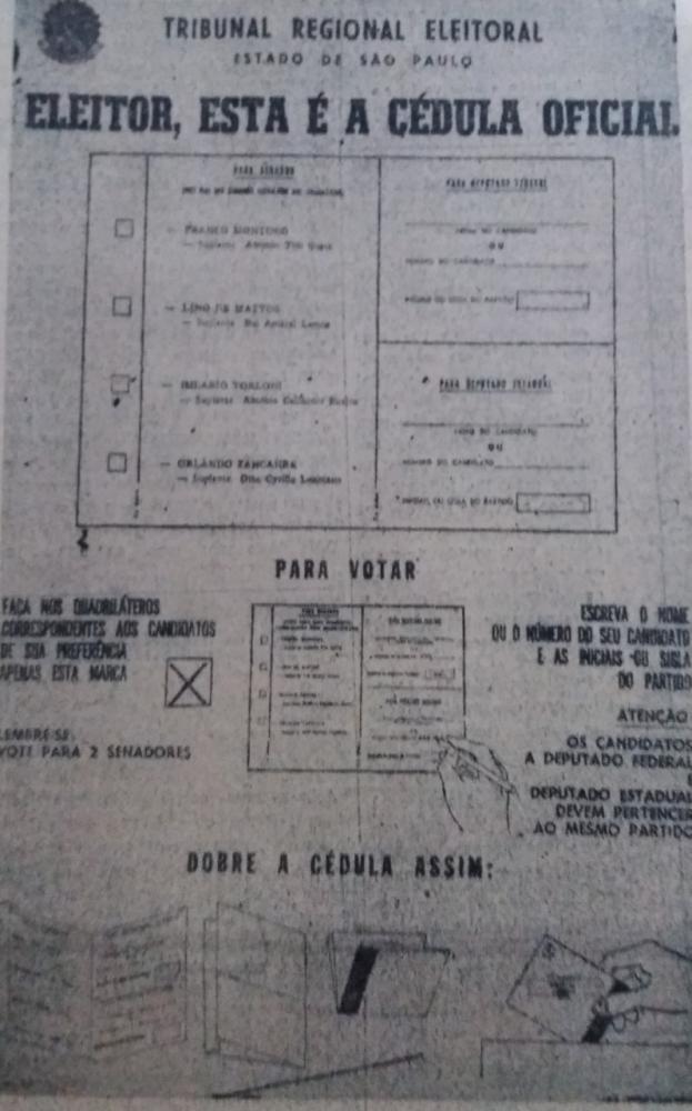 Foto: Cédula eleitoral