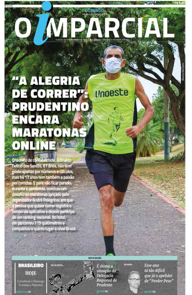 """""""A ALEGRIA DE CORRER"""": PRUDENTINO ENCARA MARATONAS ONLINE - Maratonista prudentino participa de corridas online"""