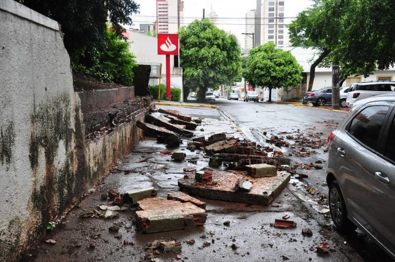 José Reis - Muro de aproximadamente 12 metros cedeu na tarde de ontem, em Prudente, após chuva