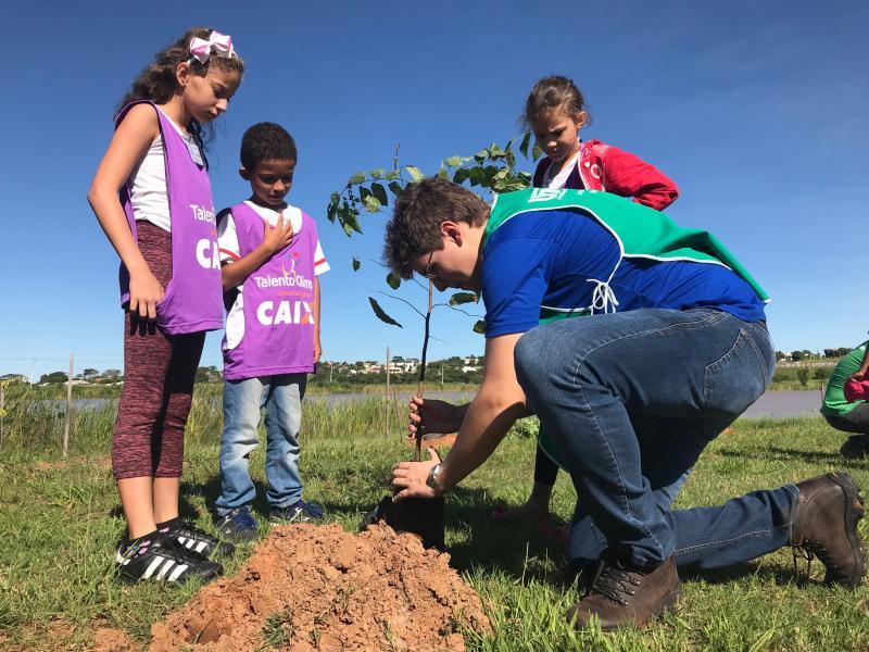 Gabriel Buosi - Crianças participaram do plantio de 30 mudas de árvores