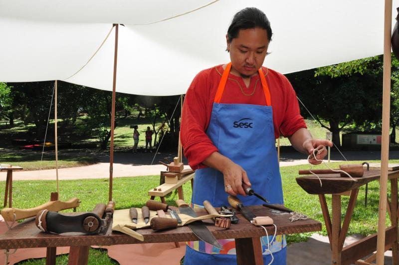 José Reis - Heitor levou para o evento a oficina sobre fabricação de ferramentas medievais