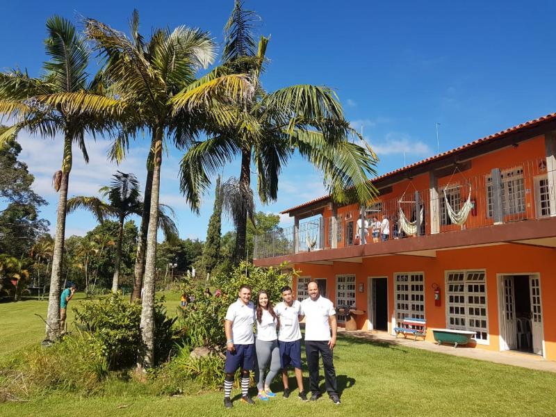 Equipe do Terra Parque Eco Resort, no X Simpósio de Acampamentos Educativos: Renan Buccki, Aline Oliveira, José Alixandri e Julio César de Moraes
