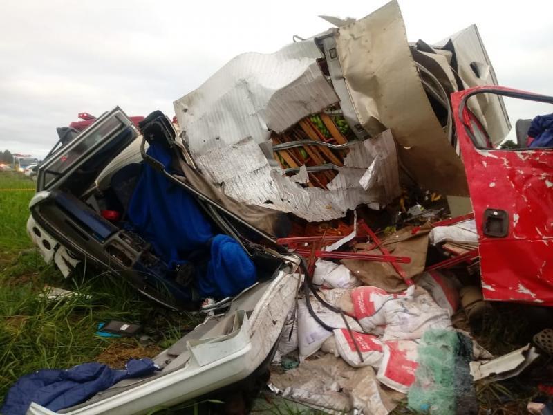 Reprodução/WhatsApp - Caminhões ficaram totalmente destruídos com a batida frontal
