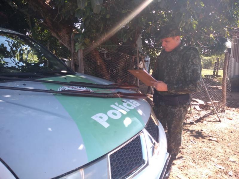 Polícia Militar Ambiental:No total, foram três armas de fogo apreendidas, além de 118 munições calibre 22