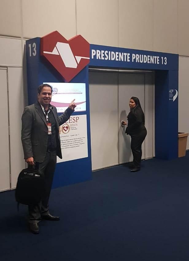 Feliz coincidência: Rafael Otto Schneidewind chegou para dar aula no Congresso de Cardiologia, e encontrou a sala com o nome de sua cidade natal, no Hotel Transamérica
