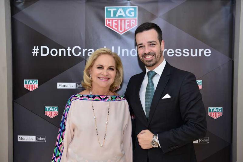 Stúdio Vollkopf: Empresária Dirce Zamora e o supervisor comercial da TAG Heuer, Diego Alves