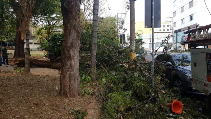 Cedida/Energisa Sul-Sudeste - De acordo com o Corpo de Bombeiros, ninguém se feriu, mas um carro foi atingido