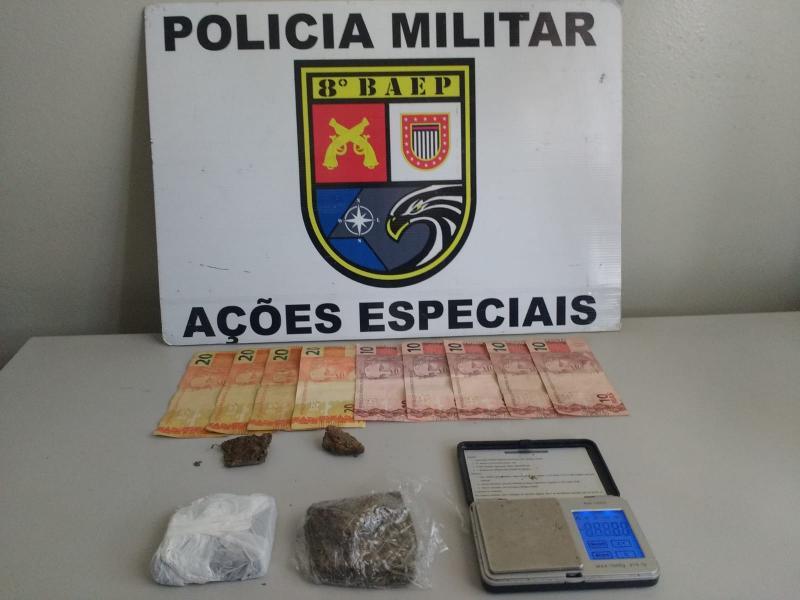 Polícia Militar:Na casa do infrator foram localizaram uma balança de precisão e R$ 130 em notas diversas