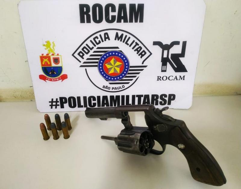 Polícia Militar - Polícia encontrou um revólver calibre 38, com capacidade para seis tiros