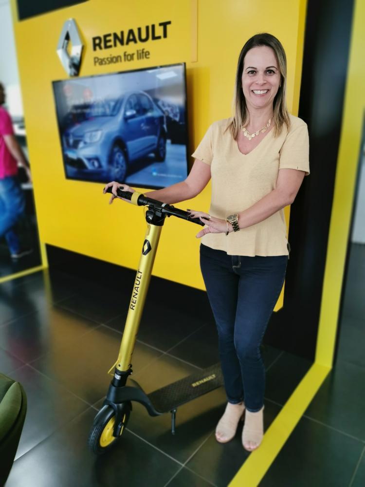 Marcia Giarrante Ranhi, gerente da concessionária Renault V. Muchiutt: sorteio de patinete elétrico