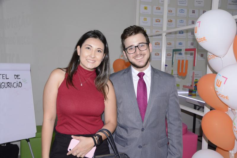 Leticia Achilles e João Parron, na inauguração da WeCode Escola de Tecnologia