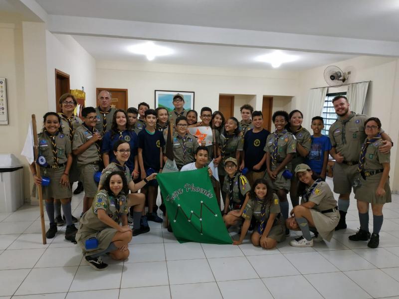 Foto: Cedida - Grupo escoteiro Guayporé com a tropa Tropa Phoenix que completa um ano de total atividade