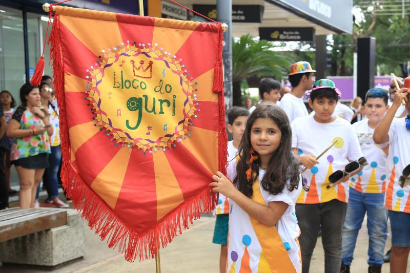 Foto: Weverson nascimento -  A pequena Tainá Ferreira, de 10 anos, foi a porta-bandeira responsável por guiar o grupo ao longo do trajeto do calçadão.
