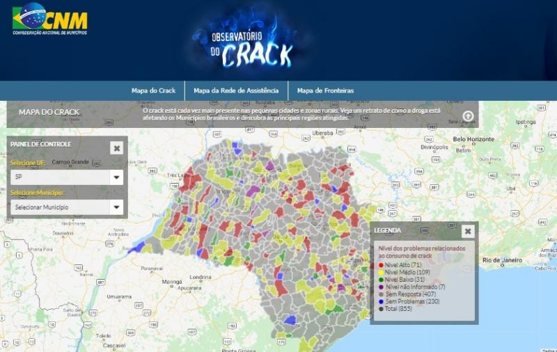 Reprodução/Internet - Portal Observatório do Crack disponibiliza informações de 23 cidades da região