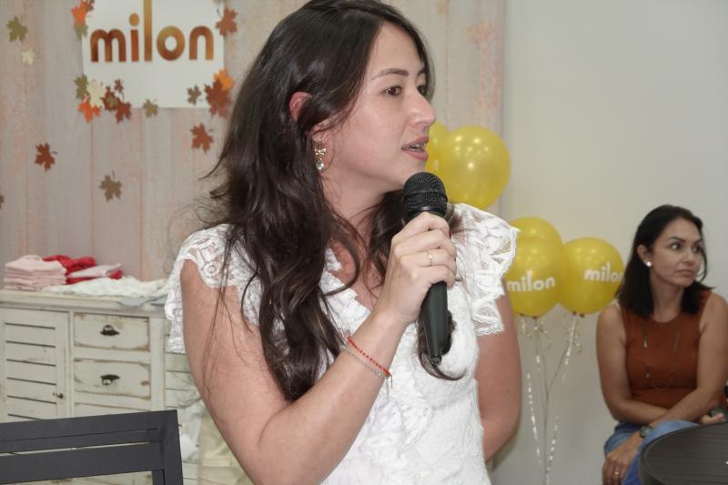 Mara Zaidel, relações públicas da Mampei Funada, abriu o encontro feminino de quinta-feira