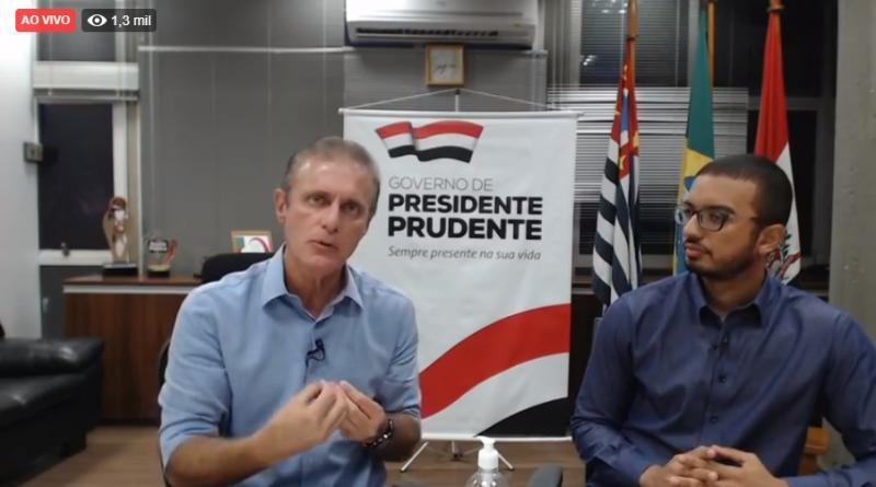 Reprodução: Prefeito de Presidente Prudente, durante live