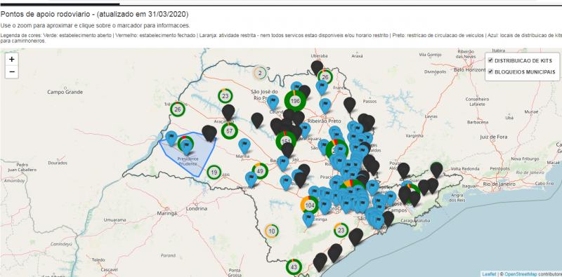 Reprodução - Site localização exata e a situação dos postos de abastecimento e dos locais de distribuição de kits