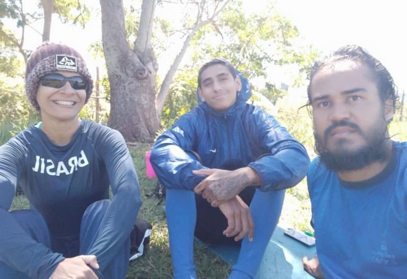 Divulgação / Marcos Chicalé - Jerusa, Gabriel e Luiz aproveitam Parque do Povo para treinar e tomar um pouco de sol