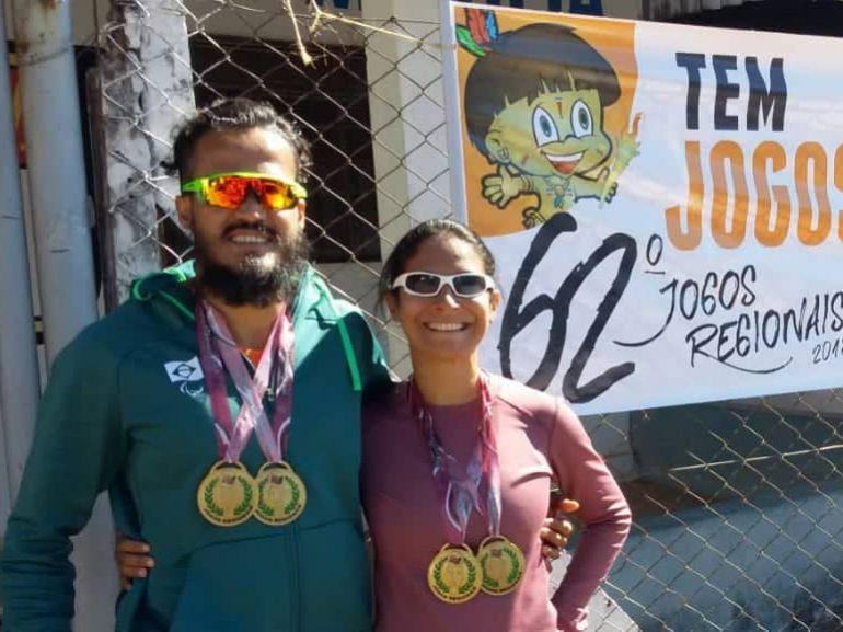 Cedida/Mauro Aoqui/Semepp - Com as cores de Prudente, velocista assegurou o primeiro lugar nos 100 e 200 metros