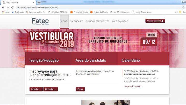 Reprodução - Formulário específico, para as duas inscrições, está disponível no site www.vestibularfatec.com.br
