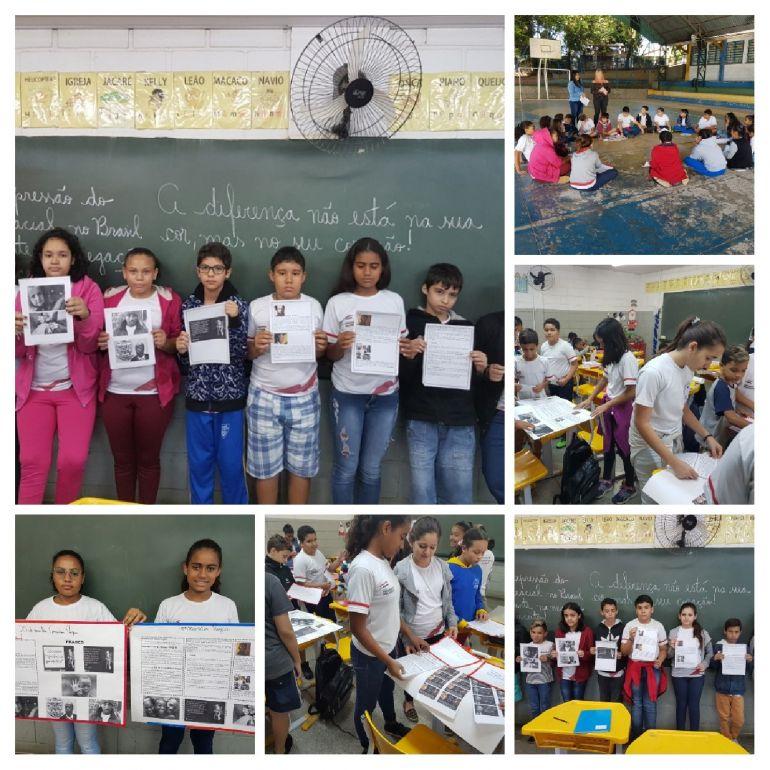 Confecção e apresentação de cartazes, após pesquisas sobre o tema Consciência Negra, roda de leitura e seminário, alunos do 5° ano C