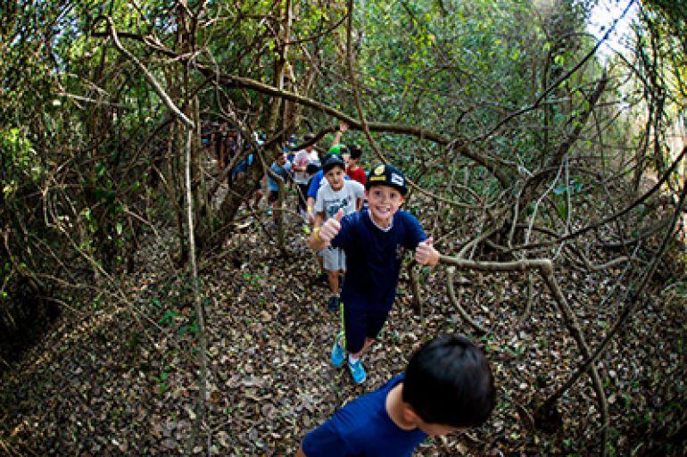 Emoção e aventura: crianças participam do passeio pela eco trilha do Terra Parque